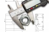 picture of vernier-caliper  - Digital vernier calipers measuring metal nut - JPG