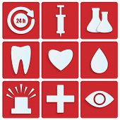 Icons Of The White Paper.set Of Medical Icons On Red Background.icons For The Hospital.vector