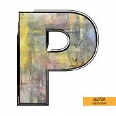 art sketched stylization alphabet in vector, colorful font, sign P