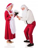 Santa giving a bouquet of white poinsettias to Mrs. Claus.  On a white background.