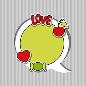 stock photo of kawaii  - Speech bubble with sticker kawaii doodles - JPG