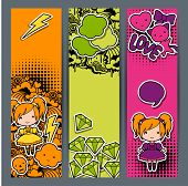 stock photo of kawaii  - Vertical banners with sticker kawaii doodles - JPG