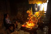 SIEM REAP, CAMBODIA - DEC 13: Sacrificial altar in the ancient ruins of Ta Prohm at the Angkor Wat,