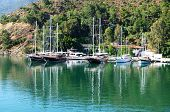 Yachts At The Pier On Mediterranean Turkish Resort, Fethiye, Turkey
