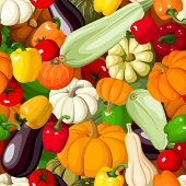 Seamless background with various vegetables. Vector illustration.
