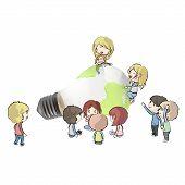 Kids Around Eco Light Bulb With A World Inside. Vector Design.