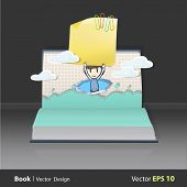 Kid Holding Yellow Paper On Popup Book. Vector Illustration.