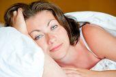 Portrait Of A Beautiful Girl Has Woken Up In Bed