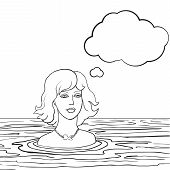 swimming woman with thinking bubble