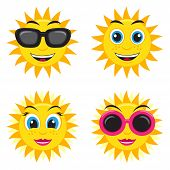 stock photo of she-male  - Illustration of the he and she sun with glasses and different face expressions - JPG