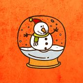 Snowman in Christmas Snow Globe. Cute Hand Drawn Vector illustration, Vintage Paper Texture Background