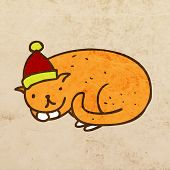 Cat with Santa Claus Hat. Cute Hand Drawn Vector illustration, Vintage Paper Texture Background