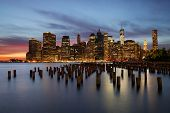 New York skyline at sunset