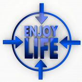 Illustration Of A Metallic Enjoy Life Label In Focus Point