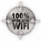 100 Percent Free Wifi Sign On Metallic Label