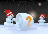 Two Snowman With Question Label