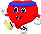 Cartoon Heart running to keep healthy