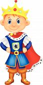 picture of reign  - Vector illustration of Cute boy cartoon with king costume - JPG