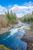 Beautiful Mountain River at Lucille Lake, Sea-to-Sky Hwy, Whistler, Vancouver, Canada.
