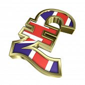 A golden Sterling Pound symbol with flag isolated over white. 3D photo rendering.