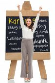 Composite image of cheerful businesswoman in front of chalkboard with german terms about career writ