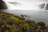Iceland. Godafoss Waterfall. Bardardalur Field Of Lava.