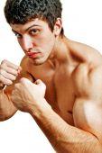 Macho Boxer Muscular duro listo para una pelea