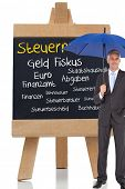 Composite image of businessman smiling at camera and holding blue umbrella in front of german terms