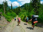 Young hikers trekking in Svaneti, Georgia