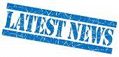 Latest News Grunge Blue Stamp