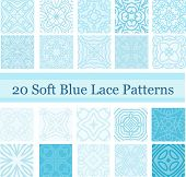 Set of 20 Soft Blue Lace Patterns.eps
