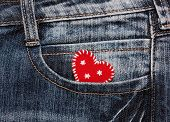 heart in jeans pocket