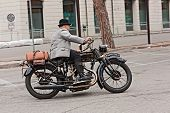 Biker Riding An Old Motorcycle Nsu 501 T