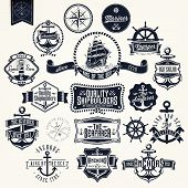 stock photo of sailing-ship  - Set Of Vintage Retro Nautical Badger And Labels - JPG