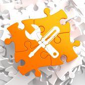 Service Concept on Orange Puzzle.