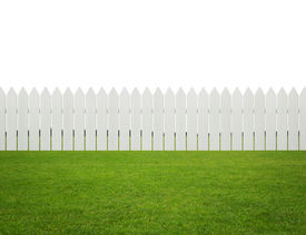 pic of safety barrier  - White wooden fence on the grass isolated on white background with copy space - JPG