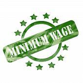 Green Weathered Minimum Wage Stamp Circle And Stars Design