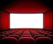 stock photo of cinema auditorium  - cinema movie screen - JPG