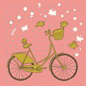 Vintage bicycle in vector. Retro cartoon card. Ecology concept background with bike, birds and butte