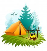 camping in forest with tent and campfire. Rasterized illustration.