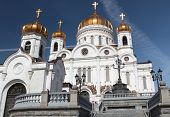 Cathedral of Christ the Saviour in Moscow, Russia against blue sky
