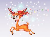 Cute deer cartoon with colorful bulb