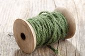 Vintage Wooden Spool With Green Sisal