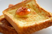 stock photo of french-toast  - A breakfast setting of delicious french toast - JPG