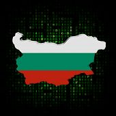 Bulgaria map flag on hex code illustration