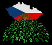 Czech Republic map flag with binary foreground illustration
