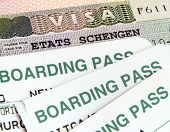 Schengen visa and air boarding passes