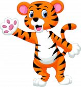 Cute tiger cartoon waving hand