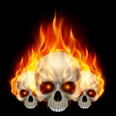 pic of fiery  - Three flaming skulls with fiery eyes on black background - JPG