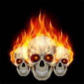 Three flaming skulls